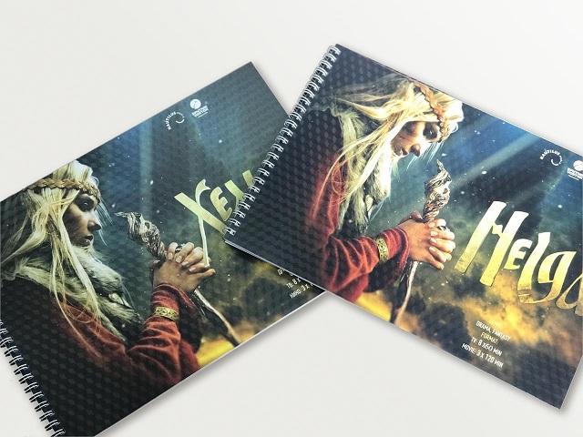 Брошюра для киностудии, формат А4. Мелованная бумага, пластиковая защитная обложка.