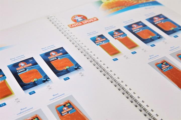 Каталог для производителя рыбной продукции, формат А4, печать цифровая, плотная мелованная бумага.