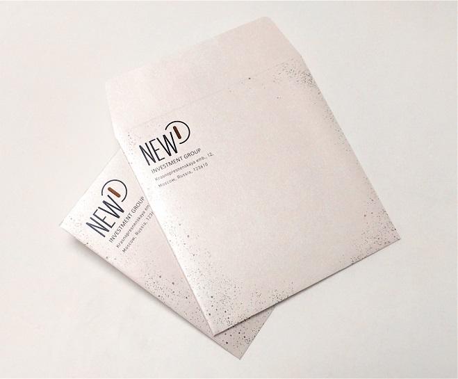 Конверты на дизайнерской бумаге Majestic белый мрамор. Квадратный клапан.