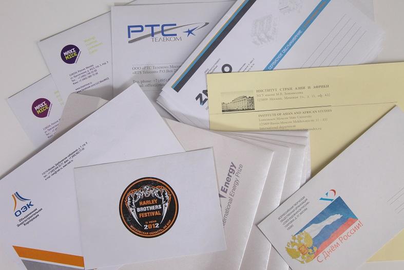 Печать на готовых конвертах, способ нанесения цифровая печать.